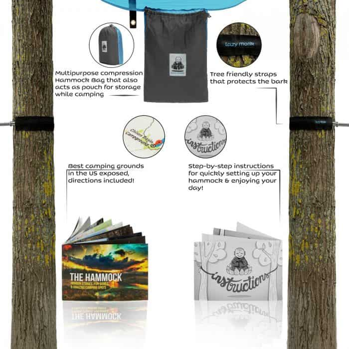 4in1 Double Camping Hammock With Straps More Features