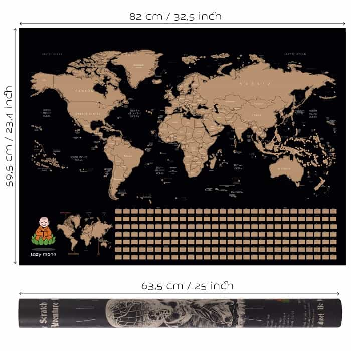 Scratch Off Map of the World Specifications